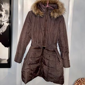 New York & Company Belted Puffer Coat